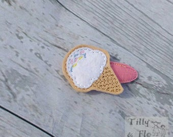 Ice Cream - Hair Clip - Snap Clip - Felt - Summer - Beach - Feltie