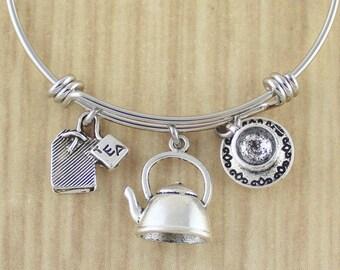 Tea Bangle Bracelet | Ultimate Tea Lovers Gift || Tea Gifts | Gifts For Tea Lovers | Tea Drinker Gifts | Tea Cup Bangle | Tea Bag Bangle