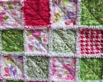 Green, pink and paisley flannel rag quilt