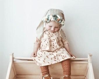 Flower Bunny Bonnet, Floral Bonnet, Baby Bunny Bonnet, Bunny Bonnet, Baby Photo Prop, Sitter Bonnet, Baby Flower Bonnet, Easter Bonnet