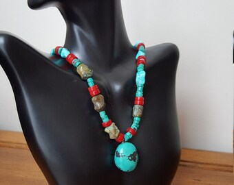 Turquoise and coral necklace with sterling silver