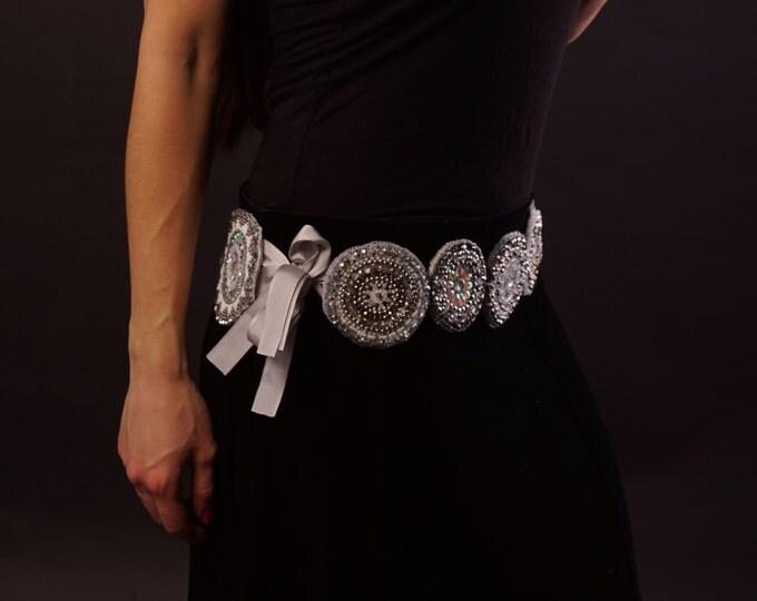 Tribal belt, handmade women belt, embroidered belt, ethnic belt, silver grey tribal belt, boho belt, tribal costume, dance costume belt