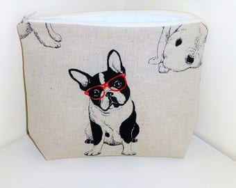 French Bulldog Make up Bag, French Bull Dog Cosmetics Bag, Boston Terriers Make Up Bag, Frenchie Cosmetics Bags, Frenchie Makeup Bag,
