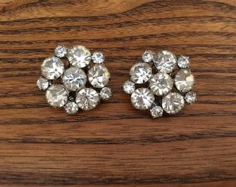 Vintage Clear Crystal Rhinestone Flower Earrings 0993
