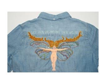 Embroidered denim shirt M