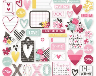 Simple Stories Love & Adore Bits and Pieces | Hearts * Valentine for planners and journals!