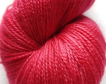 Hand Dyed Yarn, Lace weight, Red, Superwash Merino and Silk, OOAK, Cranberries