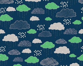 Rain Clouds Raindrop Navy Cotton Fabric from Greatest Adventure Collection by Natalie Lymer for Riley Blake Designs