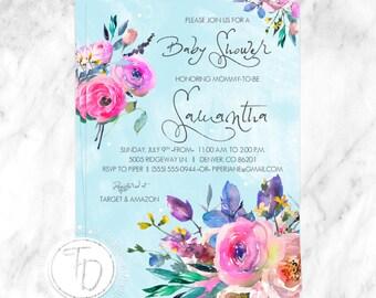 Floral Baby Shower Invitation, Garden Baby Shower Invite, Tea Party Baby  Shower Invitation,