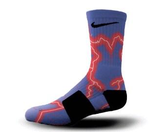 Custom Nike Elite Socks KD LeBron Kobe All Sizes HoopSwagg ELECTRIC STORM