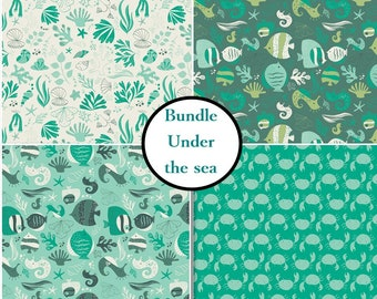 4 prints, Under the sea, Crabs, fischs, teal, aqua, white, turquoise, Camelot Fabrics, Bundle, 1 of each print