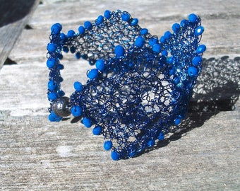 Wire crochet bracelet, Blue knitted wire cuff bracelet with beads