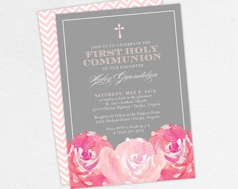First Communion Invitation, First Holy Communion Invitation, Religious, Print, PDF, DIY Communion Invite, Watercolor Flowers, Pink, Haley