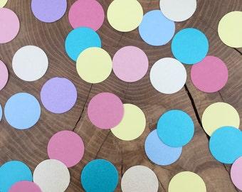 "150 Circle Confetti, 1"" circles, Pink, Blue, yellow, turquoise, ivory, purple, pastel colours"