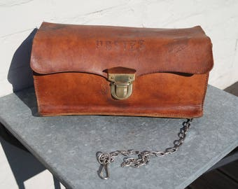 Vintage 60s french postman's leather bag/purse with a chain