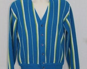 On Sale Vintage 60s Jockey Blue Green STRIPED Cardigan Sweater Rockabilly Grandpa S