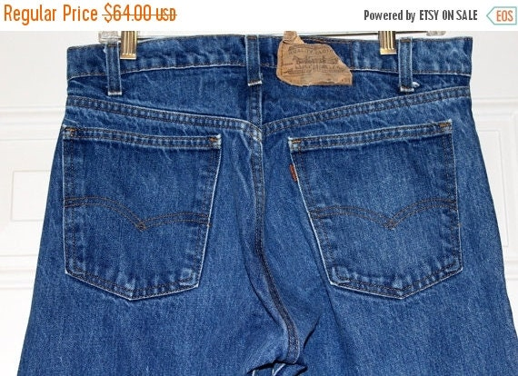 On Sale Vintage 80s LEVIS 20505 0217 Orange Tab USA Retro Denim Jeans Straight Leg 33x33