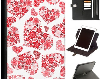 Flower love hearts Luxury Apple ipad 360 swivel i pad leather case cover with card slots