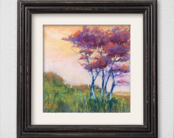 "Original Pastel Painting ""Purple Trees"""