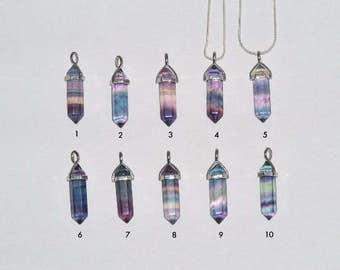 Rainbow Fluorite Crystal Double Point Pendant w/ Reiki