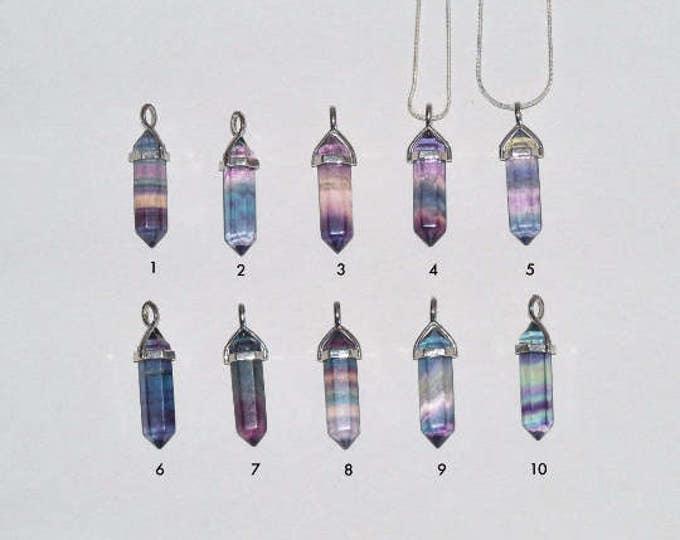Rainbow Fluorite Crystal Double Point Pendant w/ Reiki