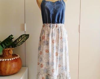 Upcycled Dress, Pinafore Dress, Apron Dress. Wearable Art Dress, Shabby Chic Boho Gypsy Dress, Denim Dress, Floral, Medium/Large