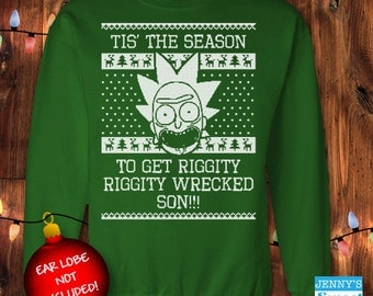 Ugly Christmas Sweater - Rick & Morty Xmas Sweater Riggity Wrecked D-16