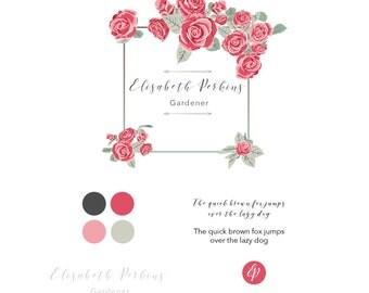 Logo Design Roses floral Branding-Kit download logo for web, blog,