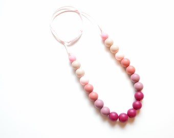 Silicone Necklace - Nursing Necklace - Toddler Necklace - Gift for New Mom - Chew Necklace - Toddler Jewelry - Baby Necklace - Chew Beads