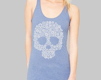 LARGE -- SALE -- Sugar Skull Tank Top - on sale, sale items, clearance, workout tank, skull clothing, Bella tank top