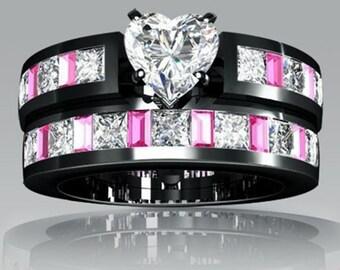 bridal ring set 10k white topaz black gold filled pink bridal fashion anniversary - Black Gold Wedding Ring Sets