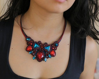Stylish sparkle soutache necklace every day accessories