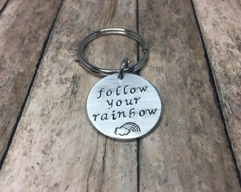 Personalized - Hand stamped - follow your rainbow - keychain - Faith keychain follow