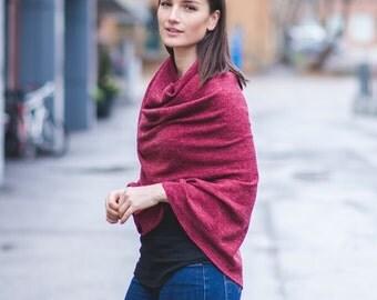 Ashton Knit Poncho in Red