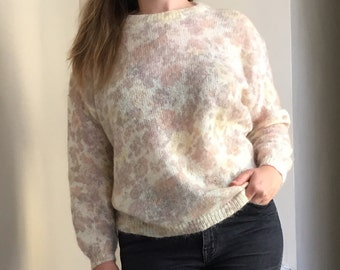 Cream & Pastel Sheer Plus Size Vintage Mohair Sweater - by Altopiano