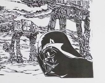 STAR WARS Hoth battle linoprint