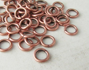 100pcs, 6mm Copper Jump Rings, 18ga, Oxidized Copper Jump Rings, Antique Copper Jumprings, Connectors, Round Jump Rings, Open Jumprings