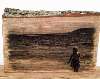 Wooden photo print, solid oak with bark, freestanding A4 size gifts, wedding gift, shabby chic, handmade, personalised.