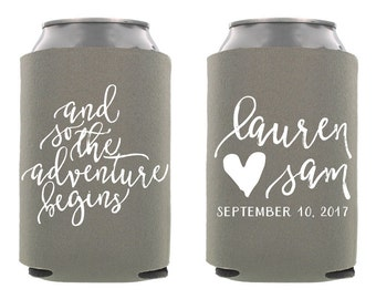 So the Adventure Begins Custom Can Cooler, Personalized Wedding Can Cooler, Custom Wedding Can Cooler, Wedding Favors, Rehersal Dinner