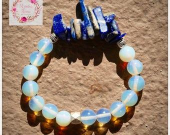 Opalite Bracelet with Lapiz Lazuli