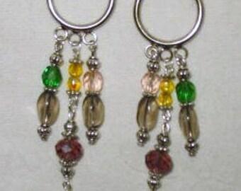 Smokey Ovals, Yellow, Pink, Green Crystals,  Purple Swarovski Earrings, Smokey Earrings, Yellow Earrings, Green Earrings, Stockingstuffer