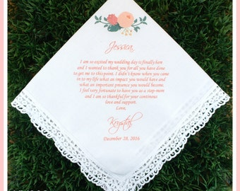 Stepmom of the Bride Gift from the Bride-Wedding Hankerchief-PRINTED-CUSTOMIZED-Weddings-Stepmother of the Bride Gift-Stepmom handkerchief