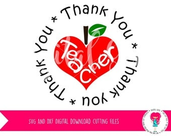 Thank you Teacher SVG / DXF Cutting File For Cricut Design Space / Silhouette Studio & PNG Clipart, Digital Download, Commercial Use Ok
