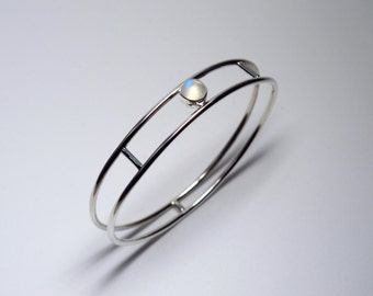 Moonstone Parallel Bangle Bracelet/ Sterling Silver Bracelet/ Moonstone Bracelet/ Gemstone Bracelet/ Minimalistic Bracelet/ Bangle Bracelet