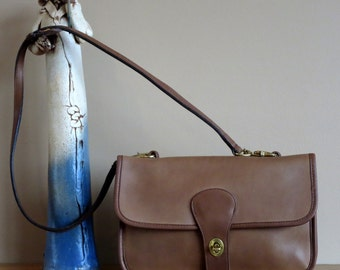 Spring Sale Coach Twin Clutch In Tabac Leather With Detachable Leather Strap- Made In New York City- Excellent Used Condition- Rare