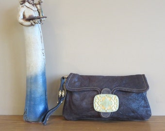 Vintage Tracy Reese Anthropologie Leather Clutch Wristlet - EUC