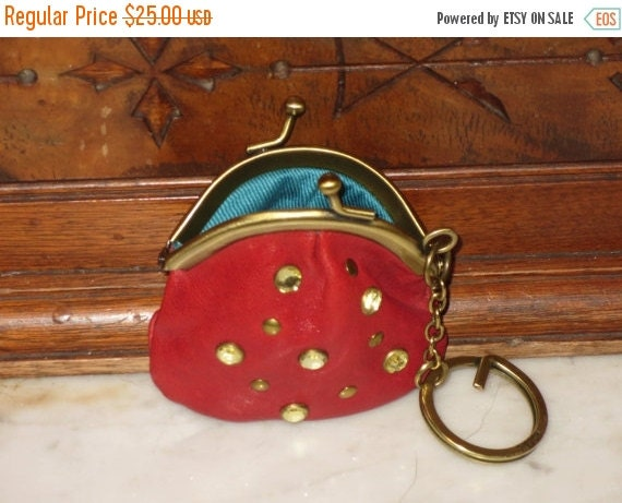 Football Days Sale Fossil Red Leather Pear Shaped Mini Coin Purse & Key Chain- VGC
