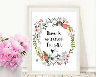 Quote Print, Home Is Wherever Im With You,  Inspirational Print,  Typography Print, Home Decor, Wall Art, Instant Download