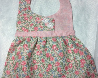 Bibs! Bibs! Bibs! for that Special Little Baby Girl!! Pink Roses And Blue Flower. Birthday Party, Handmade Baby Bib, Handmade Baby Gift.