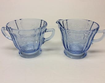 Madrid Blue Recollections Indiana Glass Creamer And Open Sugar Reproduced From Madrid Pattern Federal Glass
